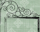 Digital Download Wrought Iron Sign Banner Frame Border, digi stamp, digis, Antique Illustration Add Photos or Text