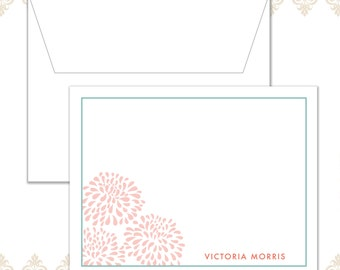 Personalized Blossom Stationery Set of 10 with envelopes
