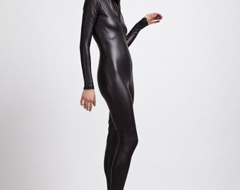 Matte Flat Black Leather Look, Coated Spandex Bodysuit