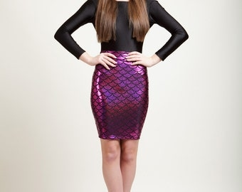 SALE Polynesian Pink Mermaid Bodycon Pencil Skirt in Metallic Holographic Sparkles