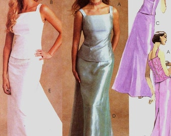 Brides top and skirt with train or evening wear sewing pattern McCalls 3163 Evening Elegance Sz 8 to 12