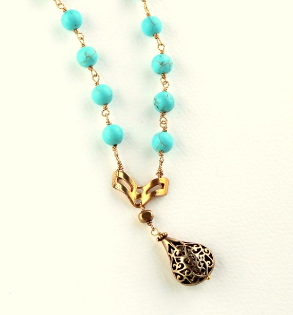 Turquoise Gold Necklace, Hand Wire Wrapped, Turquoise Rosary Style, Boho Necklace, Antique Gold, Gold Pendant, Robins Egg Blue, SALE