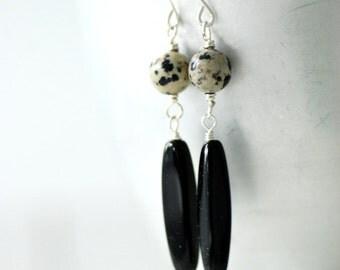 Animal Print Jewelry, Jasper Earrings, Semi Precious Stone Jewelry, Black and Ecru, Spotted Earrings, Dalmatian Jasper, Gemstone Earrings