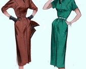 CLEARANCE SALE 1950s Slim Spectator Dress w/ Saddle Stitching and Flippant Winged Collar Butterick 6797 Vintage 50s Sewing Pattern Size 12 U