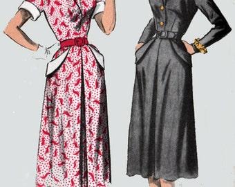1950s Dress w/ Large Side Pockets Advance 5764  Vintage 50s Rockabilly Sewing Pattern Womens Size 12