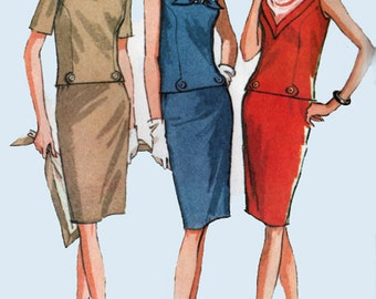 1960s Wiggle Dress w/ Scarf McCalls 8110 Vintage 60s MOD Sewing Pattern Size 12 Bust 32
