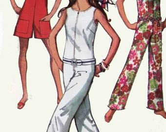 1970s  Jumpsuit Romper Playsuit in two lengths and three necklines Simplicity 8198 Vintage Sewing Pattern Retro Size 12