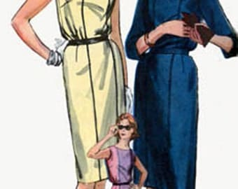 1960s MOD Bloused Bodice Mad Men WIGGLE Dress Vogue 5248 Vintage 60s Womens Sewing Pattern Size 16 Bust 36 UNCUT