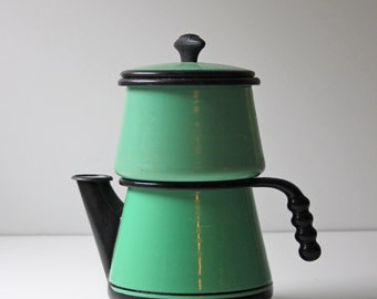 Vintage green enamel drip coffee pot for display, planter or use as storage