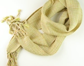 Hand Woven Scarf, Spring Pale Tan, Lime, Cream, Tencel HandWoven Scarf