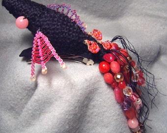 Akanksha, OoaK crocheted and beaded barrette