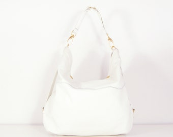 Amelia - Handmade White Leather Hobo, Shoulder Bag.