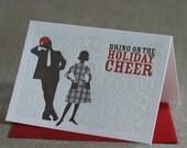 Christmas Cards, Retro Couple Letterpress