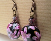 SALE Aloha Purple and Black Flowers Polymer Clay and Amethyst Crystal Niobium Earrings