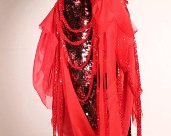 Tattered Doll Bustle Wrap Skirt, Gothic Lolita Belly Dance in Black Red, Fantasy Noir Steampunk Carnival Performer
