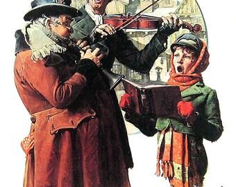 Christmas Sing Merrilie - Vintage1978 Norman Rockwell Print - 9 x 11