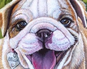 English Bulldog Puppy Greeting Card 5 x 7 inches