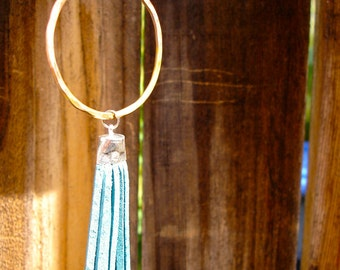 Copper Hoop Leather Tassel Necklace - Turquoise