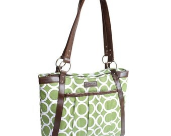 Sale- Less than perfect - Green Circles Laptop Bag in Green and White- Laptop Tote - Kailo Chic - Canvas and Vegan Leather