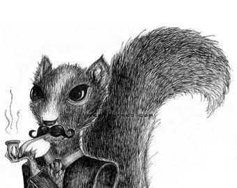 TESLA SQUIRREL // small fine art print