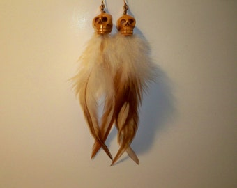 Bone Skull Earrings with Carved Bone Skulls and Matching Feathers
