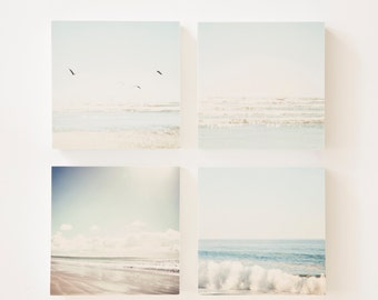 beach  wall art - set of 4 photo blocks - beach photography set, pale blue, aqua, white, waves, blue sky, beach decor, ocean photography
