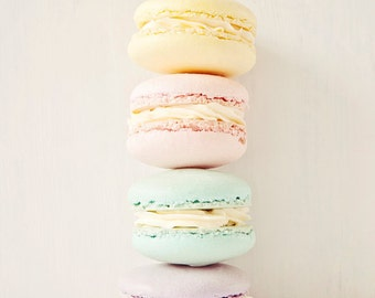 Pastel macaron photograph, kitchen decor, pastel pink, pale purple, mint, yellow, food photography, shabby chic decor - A Pastel Stack