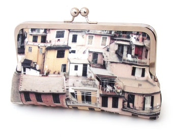 Clutch bag, silk purse, Italian village, rooftops, CINQUE TERRE