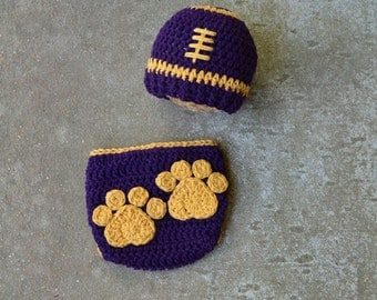 Lsu Football Hat and diaper cover set , crochet baby hat , diaper cover Size newborn 0 3  6 12 months MADE TO ORDER