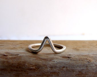 Silver Chevron ring, Geometric Ring, Arrow ring in sterling silver, handmade geometric jewelry everyday jewelry