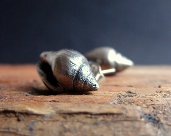 Nautical Sea Shell Stud Earrings Sterling Silver Post Earrings Sea Creatures