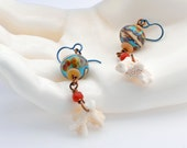 Beach Earrings - Aqua Lampwork with white Coral dangle and touch of burnt orange
