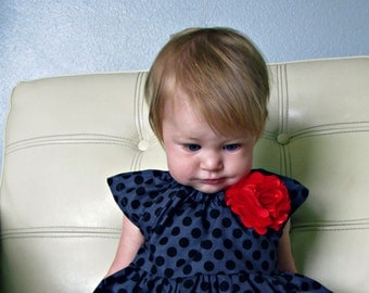 Dress fall polka dots grey gray black red girl baby toddler Holiday dress Christmas birthday outfit photo shoot
