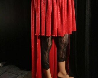 Vampire Queen Fishtail skirt short long formal design dark red silver sparkle wedding dance gothic victorian - Medium - Sisters of the Moon