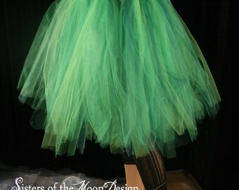 absinthe fairy Streamer knee length tutu skirt mixed greens adult costume dance fantasy forest -You Choose Size - Sisters of the Moon