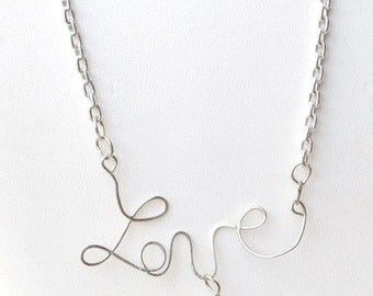 Love Necklace - Wire and Chain