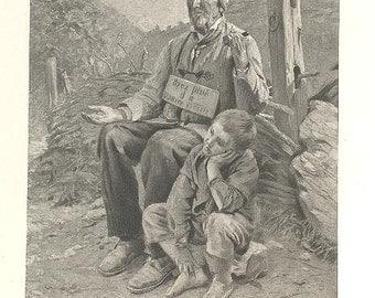 RIXENS 'BLIND MAN St. Avantin' Beggar Mendicant Paris France ~ Vintage 1890s French Paris Salon Antique Art Print [inv#92leS 53
