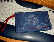 Wallet!...Denim Wallet -Original Handmade Embroidered -Wallet /Clutch/Wristlet  - number 20 - includes a small pocket - nice gift!