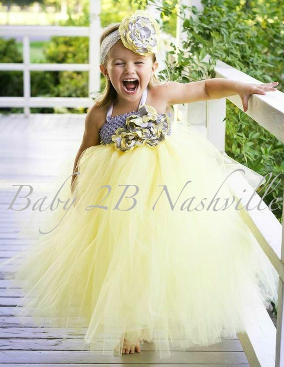 Wedding Flower Girl Dress, Yellow Flower Girl,  Tutu Dress ,  Flower Girl Dress in Yellow and Grey With Handmade Cabbage Roses 2-4T