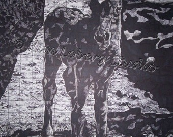 Black Beauty Pony Drawing mare colt Horse Equine Kim Loberg Nebraska Artist WHOA Team EBSQ