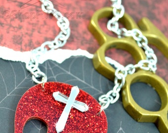 SANCTIFIED -  Girly Skull and Cross Charm Necklace in Red Glitter and Silver Mirror Laser Cut Acrylic