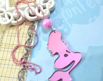 PINK MIRROR MERMAID - Laser Cut Acrylic Charm Necklace