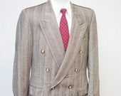 Men's Blazer / Vintage Double Breasted Jacket / Peak Lapels / Size 39 Medium