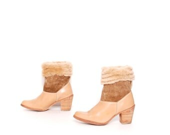 size 6.5 SHEARLING tan leather 60s 70s FLEECE WINTER cuffed ankle boots