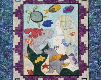 Miss Mermaid Quilt -- Six Patterns -- Block of the Month