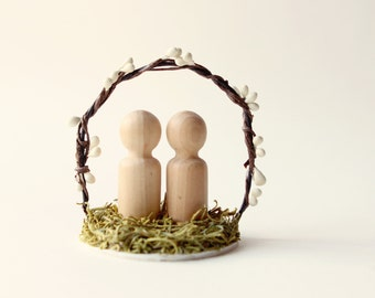 Rustic Cake Topper, Woodland wedding, Rustic harvest, wedding cake topper, Simple bride and groom decoration, Woodland cake topper, moss