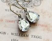 Gray Diamond Nickel Free Dangle Earrings Swarovski Crystal Antique Style Jewelry Vintage Style Jewelry Retro Jewelry Sparkly Earrings