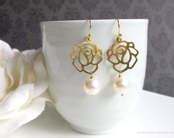 Rose Flower Modern Dangle Drop Earrings. Gold Plated Swarovski Pearls Ear Accessory. Bridal Wedding Gift