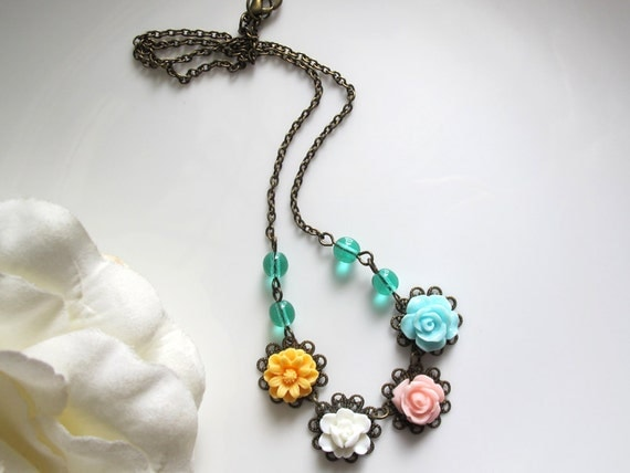 Yellow Marigold, White rose bud, Pink rose, Blue ruffled Rose. Lace Filigree. Spring Summer Floral Jewelry. Green czech glass beads Necklace