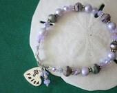 Faith Bracelet Personalized, Mother Bracelet, Purple Bracelet, Pearl Bracelet, Crystal, Nana Charm, Monogram Bracelet